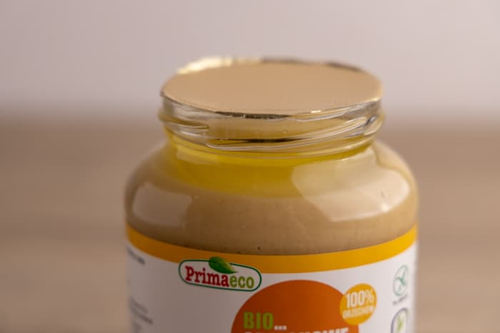 Peanut butter oil on top