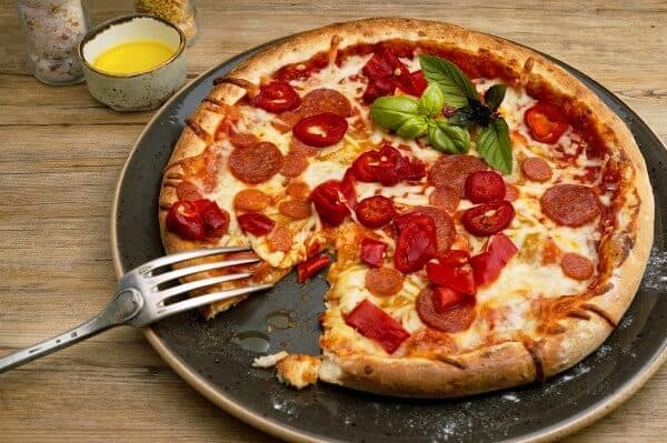 Pepperoni pizza on a plate