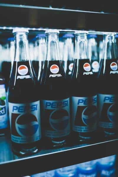 Pepsi bottles in a cooler