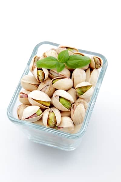 Pistachios in a glass bowl