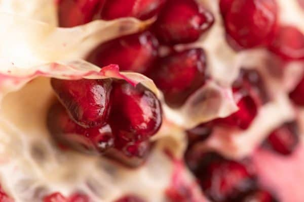 Pomegranate seeds and pith