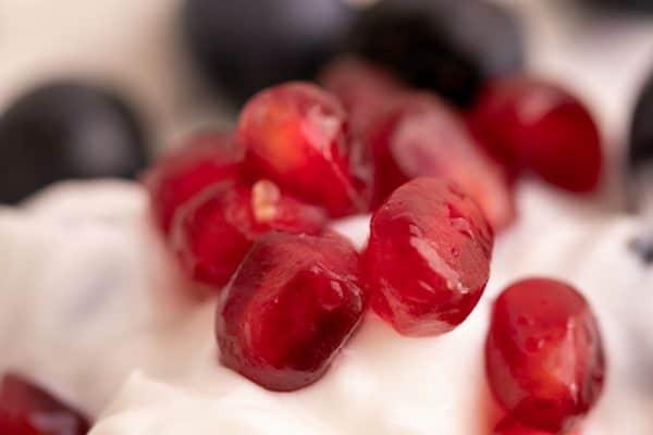 Pomegranate seeds in yogurt