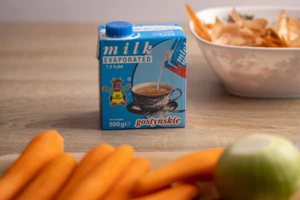 Prep for creamy carrot soup with evaporated milk
