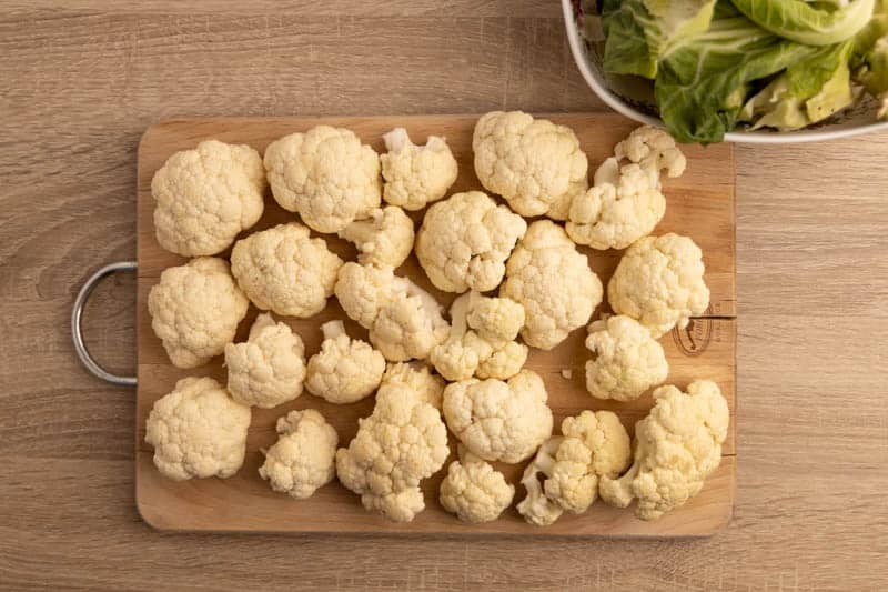 Prepping cauliflower for soup