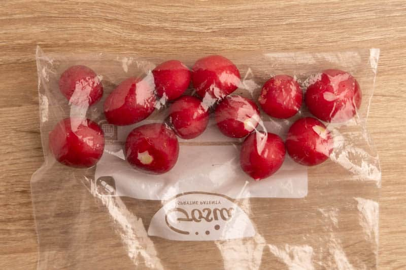 Radishes in a resealable bag