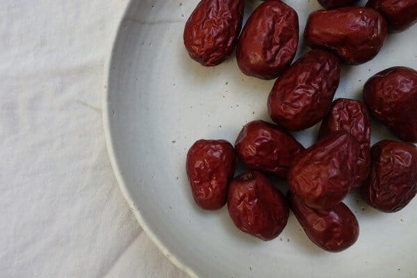 Red dates on a plate