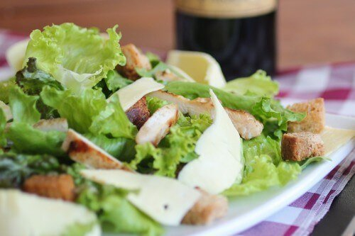 Salad with meat on a plate