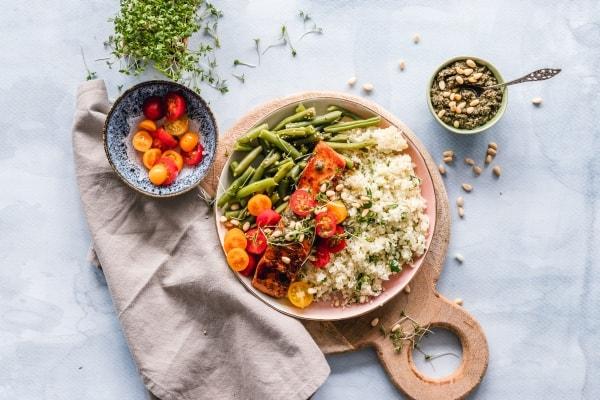 Salmon, quinoa, and veggies