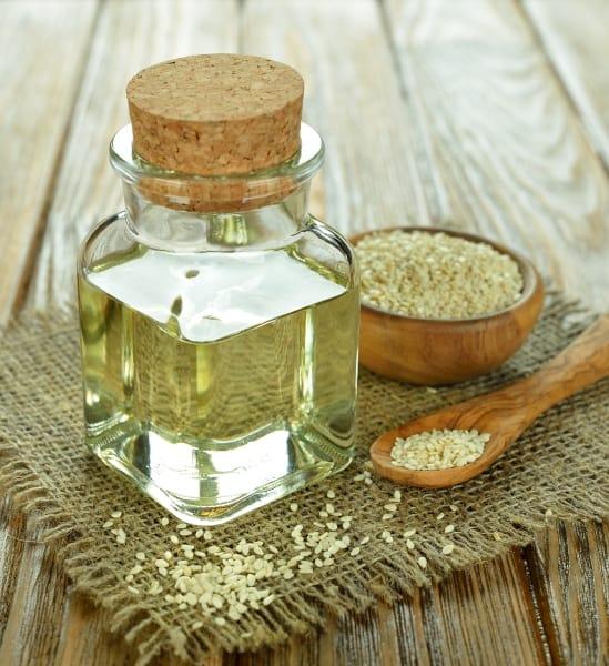 Sesame oil in a corked bottle