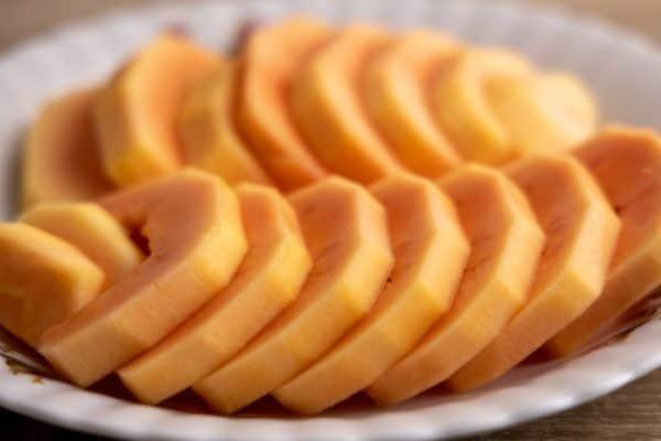 Sliced papaya ready for eating
