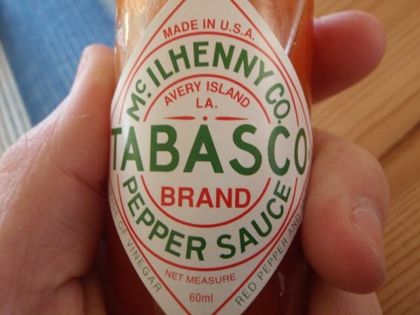 Small bottle of Tabasco hot sauce