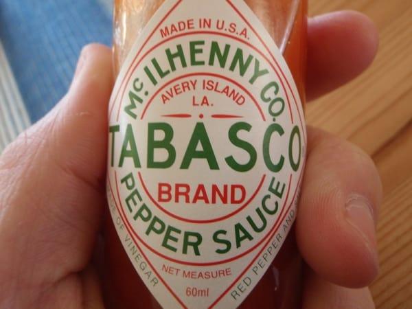 Small bottle of Tabasco hot sauce
