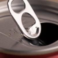 Soda ring pull closeup