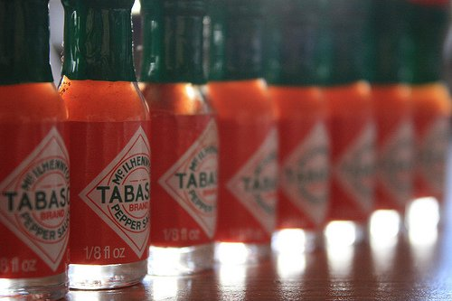 Bottles of Tabasco