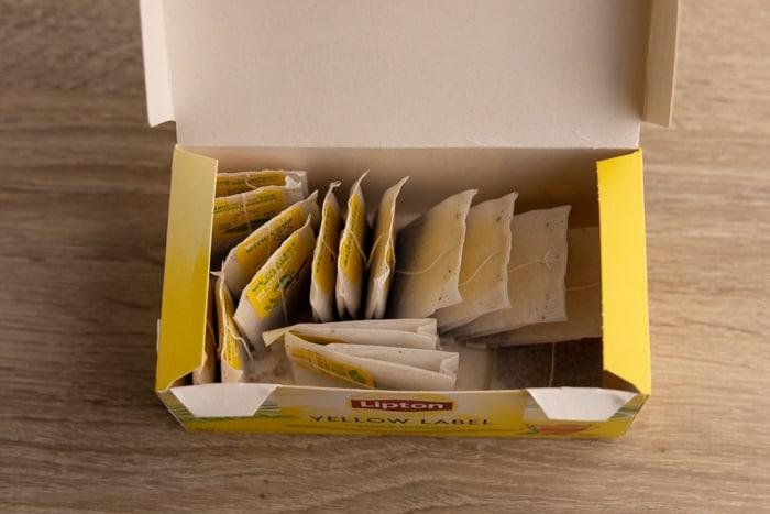 Tea bag in a carton