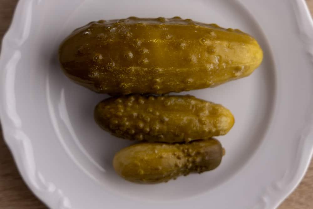 Three dill pickles
