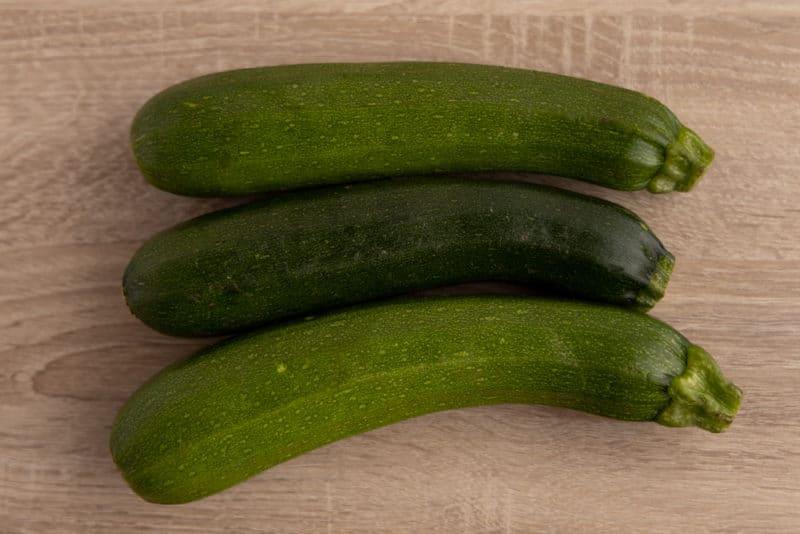 Three zucchinis
