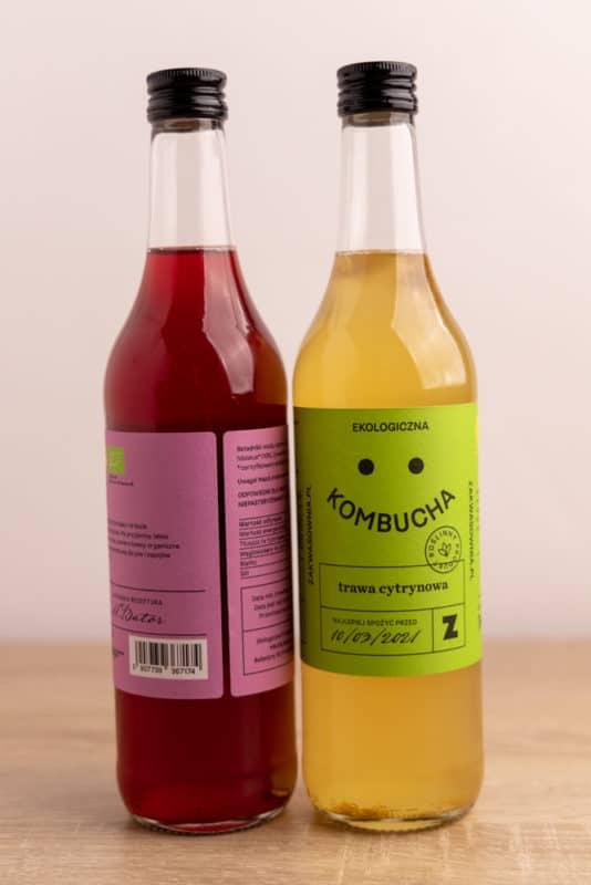 Two bottles of kombucha