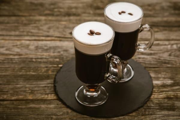 Irish coffee: irish cream, coffe, and cream