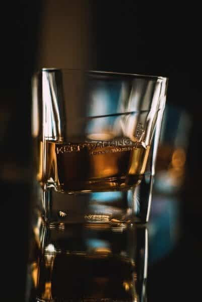 Whiskey in a clear drinking glass