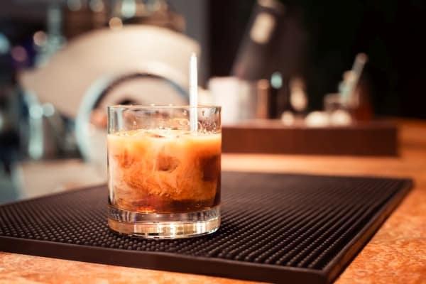 White russian cocktail prepared
