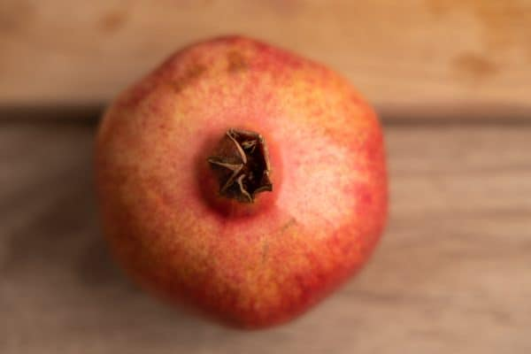 Whole pomegranate from above