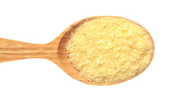 Wooden spoon with cornmeal