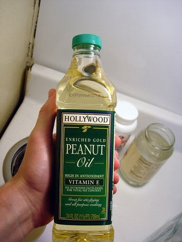 Bottle of peanut oil