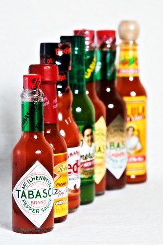 Various hot sauce bottles